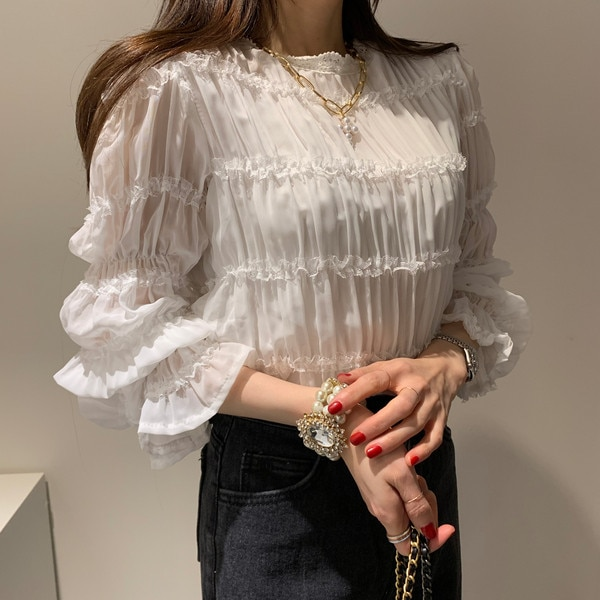 2020 Spring Cute Sweet Tops Women Flare Sleeve Korea Style Temperament Lady White Shirts Blouses Vintage 7976