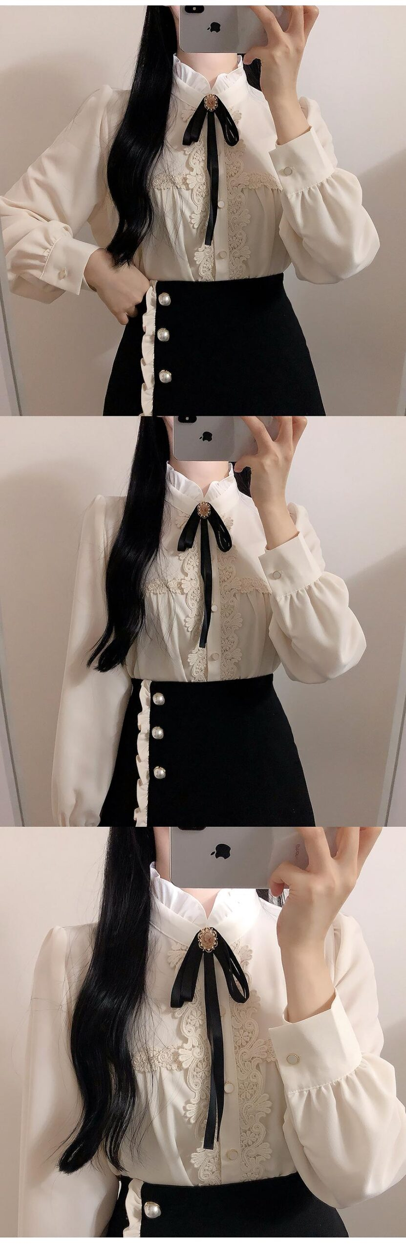 2020 Spring New Design Bow Tie Tops Women Long Sleeve Cute Sweet Korea Japanese Style White Lace Button Shirts Blouse Pink 12322