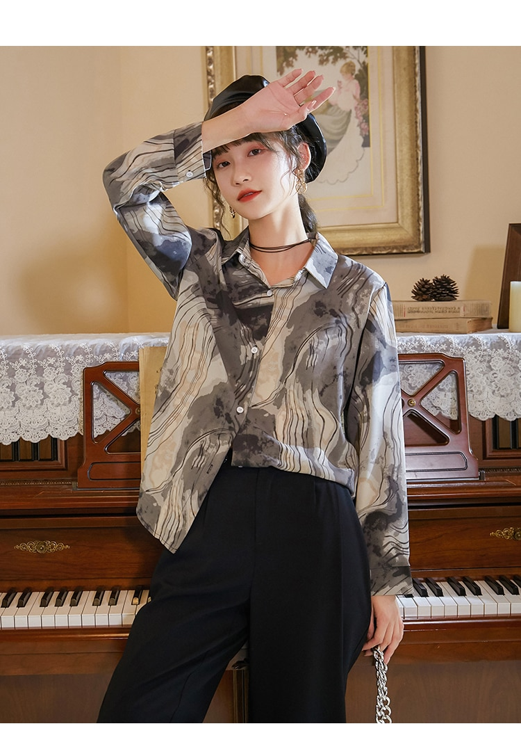 CHEERART Ink Wash Painting Aesthetic Shirt Vintage Top And Blouse Women Long Sleeve Button Up Shirt Fall 2020 Korean Fashion