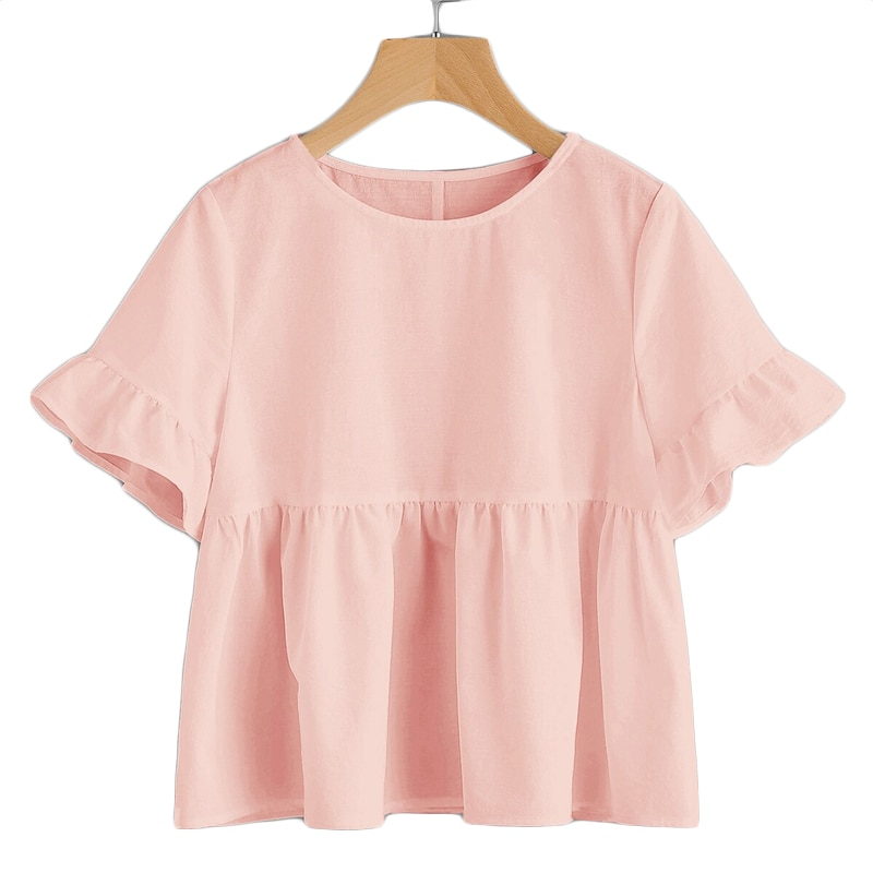SHEIN Cute Pink Ruffle Cuff Solid Smock Top Blouse Women Flared Hem Round Neck Short Sleeve Summer Loose Womens Tops and Blouses