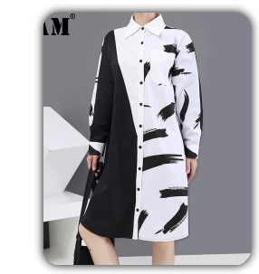 [EAM] Women Pattern Printed Big Size Blouse New V-collarLong Sleeve Loose Fit Shirt Fashion Tide Spring Autumn 2021 1W32609