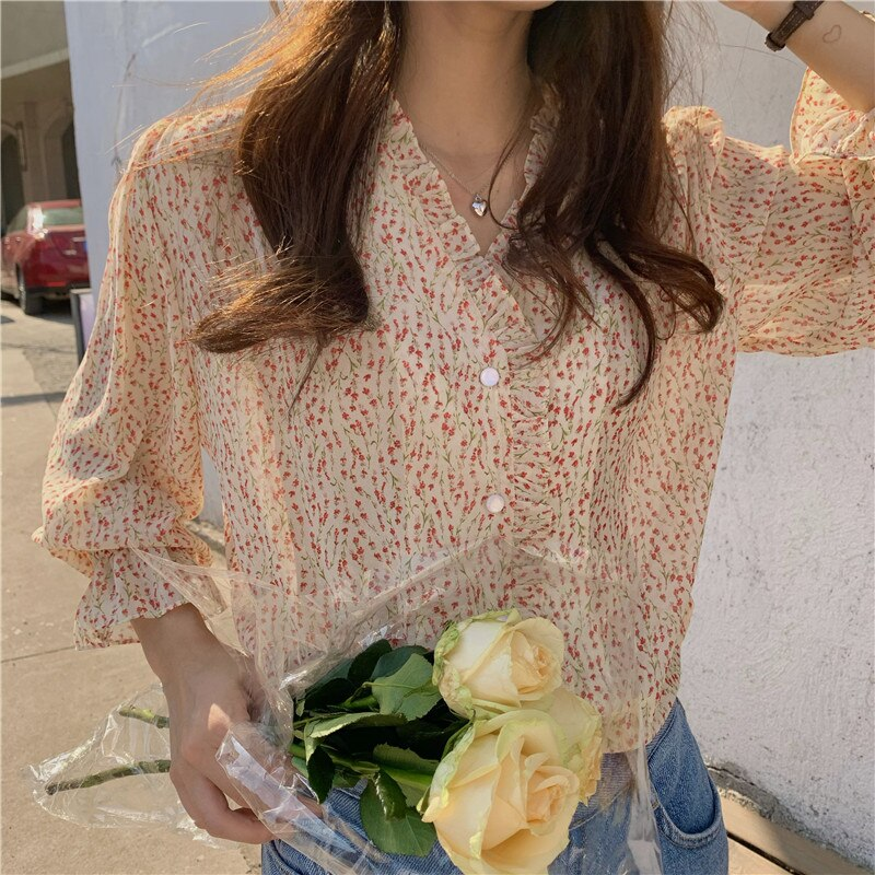 South Korea Chic Tops Hot Sales Women Summer Flare Sleeve Flhjlwoc Preppy Style Girls Floral Printed Button Ruffled Shirts 5319