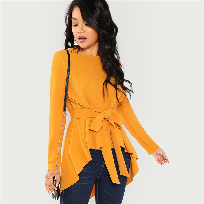 SHEIN Ginger Self Belted Asymmetrical Hem Top Casual Long Sleeve Round Neck Blouses Women Autumn Elegant Office Ladies Blouse