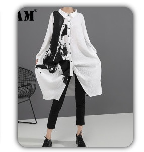 [EAM]2021 Spring  Woman Stylish Solid Color Long Sleeve O-neck Single Breasted Irregular Loose Shirt All Match LE706