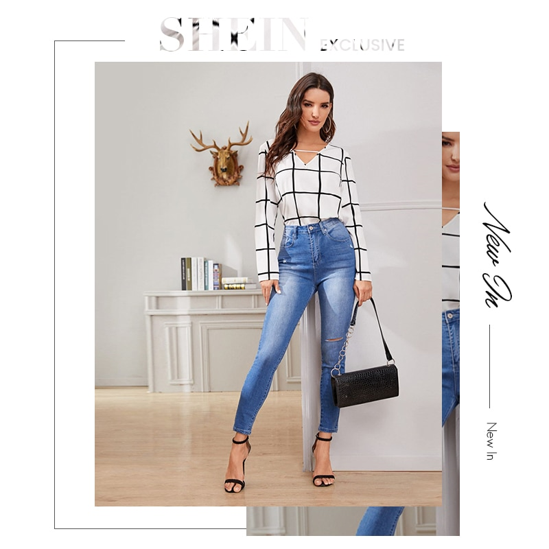 SHEIN White Plaid Print V-Cut Neck Spring Casual Blouse Women Tops 2019 Autumn Korean Long Sleeve Office Laides Blouses And Tops