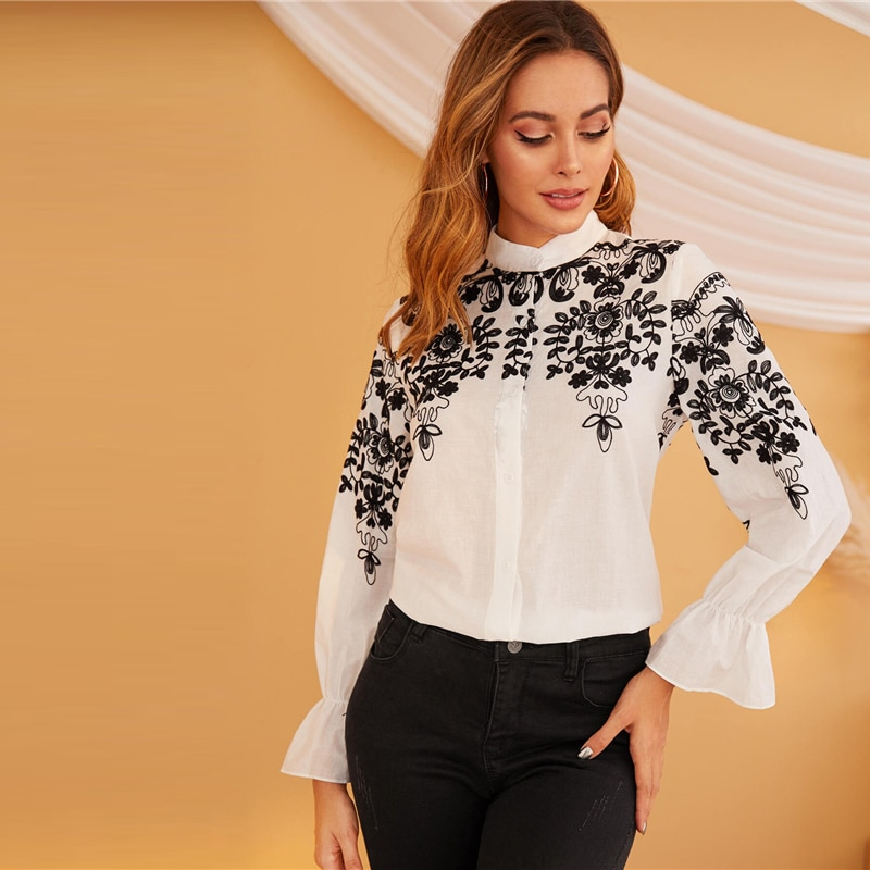 SHEIN Black And White Embroidery Stand Collar Elegant Shirt Women Tops 2019 Autumn Long Sleeve Office Ladies Blouse Shirts