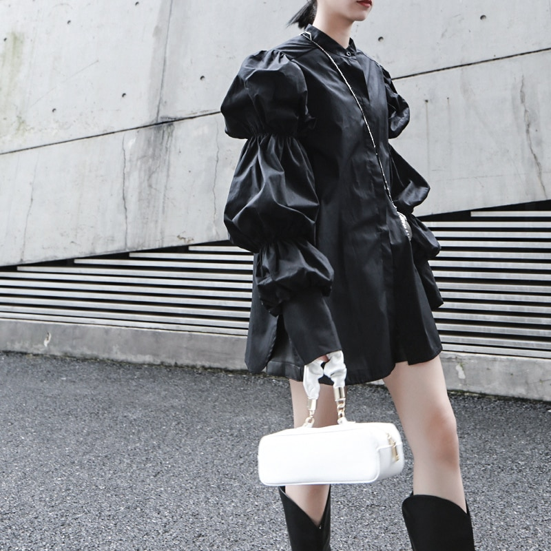 [EAM] Women White Big Size Pleated Split Blouse New Stand Collar Puff Sleeve Loose Fit Shirt Fashion Spring Autumn 2021 1K366