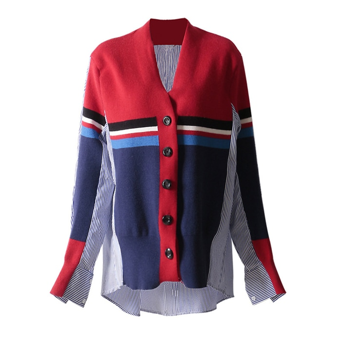 Cheerart V Neck Blouse Shirt Women Spring Knitted Patchwork Long Sleeve High Low Shirt High Fashion 2019 Clothing