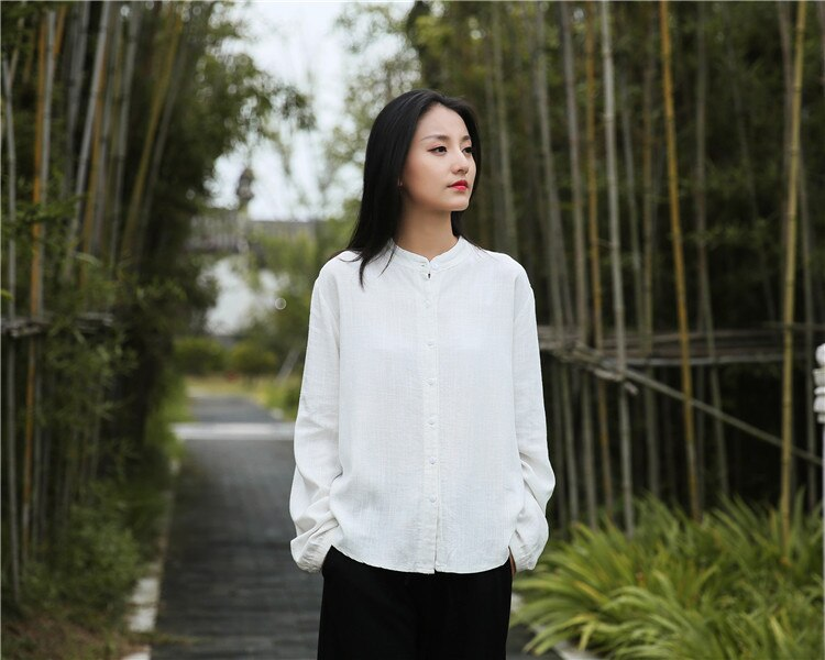 Johnature 2020 Autumn Winter New Cotton Linen O-neck Single Breasted Shirt Loose Comfortable All-match Solid Color Women Tops