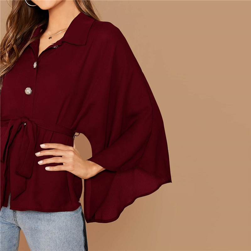 SHEIN Burgundy Kimono Sleeve Gold Button Belted Shirt Blouse Women Spring Autumn Solid Casual Oversized Tops and Blouses