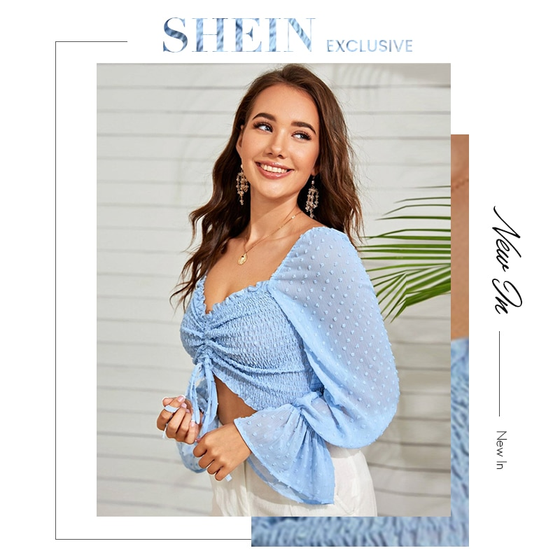 SHEIN Swiss Dot Flounce Sleeve Drawstring Ruched Front Shirred Crop Top Autumn Long Sleeve Elegant Boho Womens Tops and Blouses