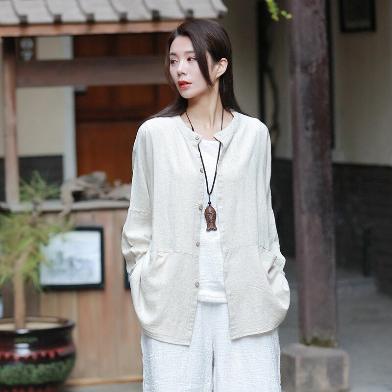 Johnature 2020 Spring New Vintage Cotton Linen Shirts Women Button Pockets Solid Color Blouses O-Neck Long Sleeve Patchwork Tops