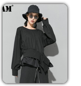 [EAM] 2021 New Spring Stand Collar Long Sleeve Black Paisley Printed Loose Big Size Shirt Women Blouse Fashion Tide JE58001M
