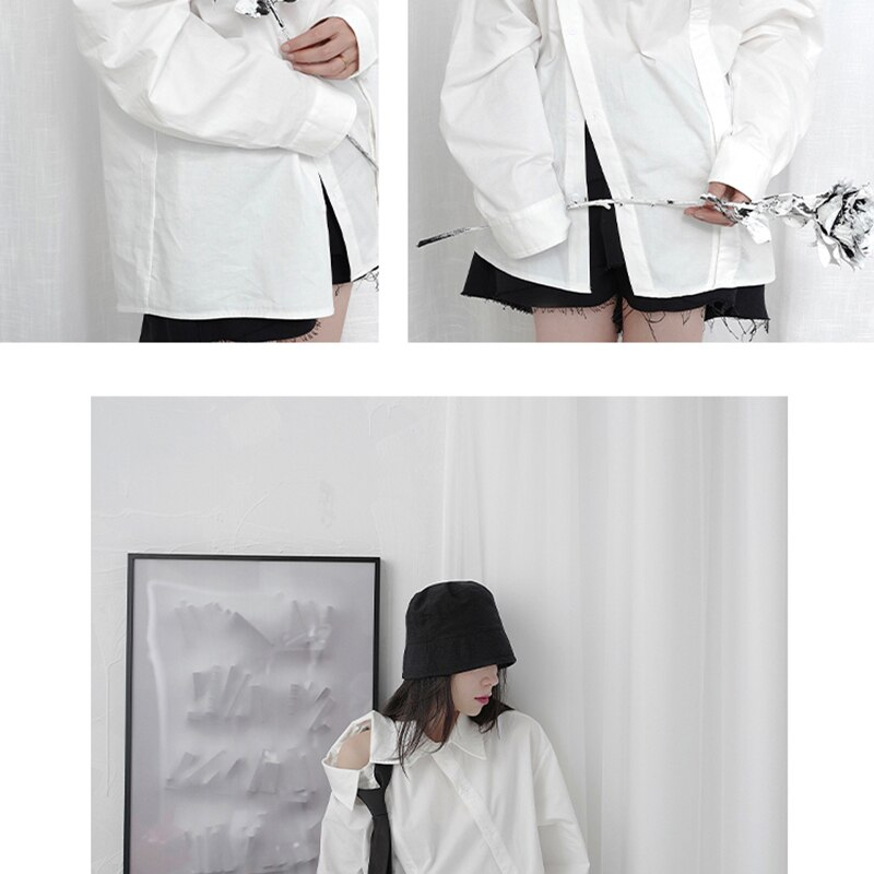 [EAM] Women White Off Shoulder Button Big Size Blouse New Lapel Long Sleeve Loose Fit Shirt Fashion Spring Autumn 2021 1DB133