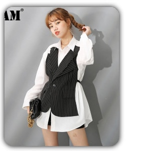 [EAM] Women Strapless Ruffle Backless Blouse New Lapel Long Sleeve Loose Fit Shirt Fashion Tide Spring Autumn 2021 1B148