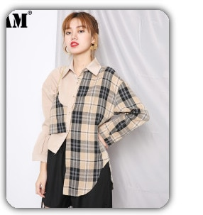 [EAM] Women Pattern Printed Big Size Blouse New Lapel Long Sleeve Loose Fit Shirt Fashion Tide Spring Autumn 2021 1DC812