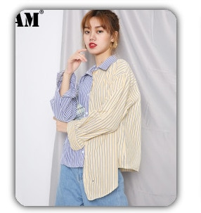 [EAM] Women Pattern Printed Temperament Blouse New V-collar Long Sleeve Loose Fit Shirt Fashion Tide Spring Summer 2021 1X772