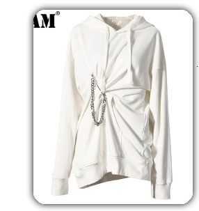 [EAM] Women Back Long Causal Blouse New Lapel Long Sleeve Loose Fit Shirt Fashion Tide All-match Spring Autumn 2021 1A035
