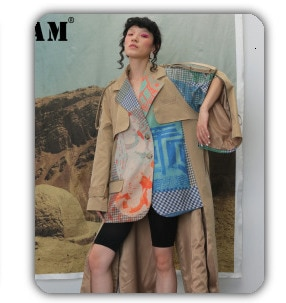 [EAM] Women Striped Contrast Color Big Size Blouse New Lapel Long Sleeve Loose Fit Shirt Fashion Tide Spring Autumn 2021 1Z57209