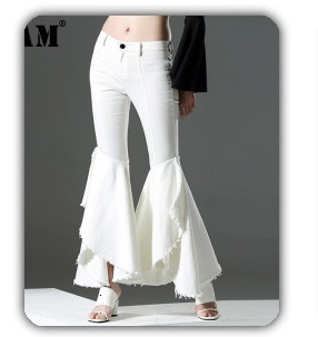 [EAM] Women White Pleated Split Big Size Blouse New Lapel Long Sleeve Loose Fit Shirt Fashion Tide Spring Summer 2021 1S27001