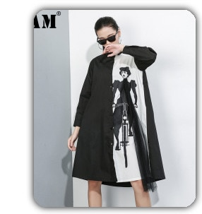 [EAM] Women Irregular Embroidery Big Size Blouse New Lapel Long Sleeve Loose Fit Shirt Fashion Tide Spring Autumn 2021 1DD1376