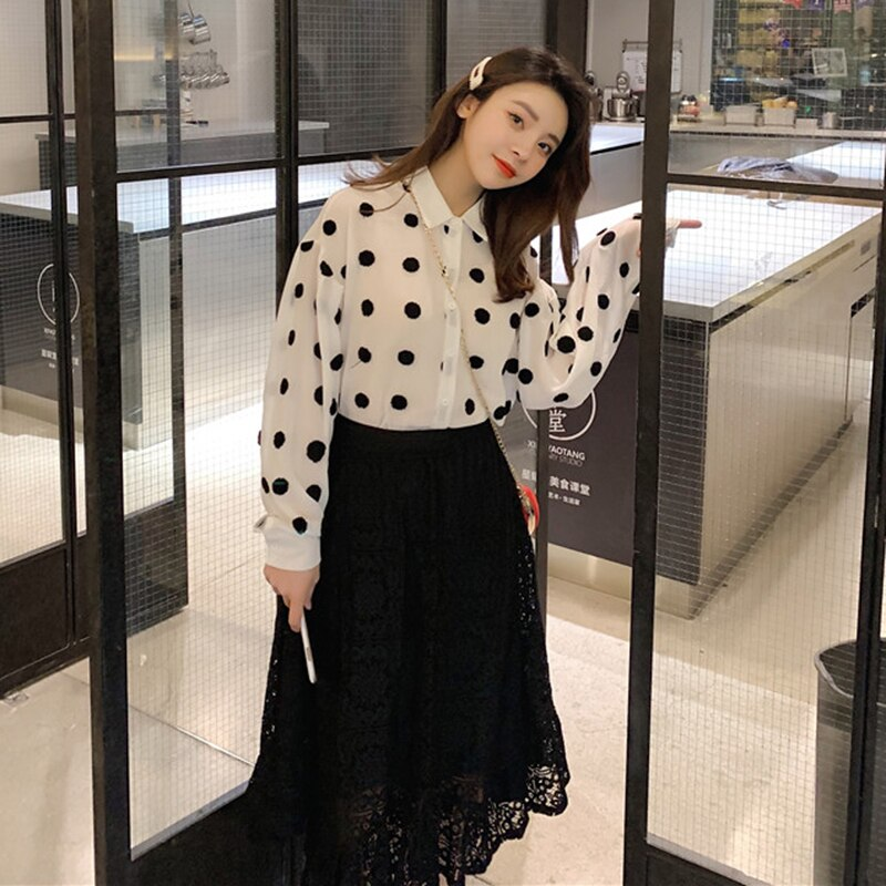 [EAM] Women White Dot Printed Big Size Blouse New Lapel Long Sleeve Loose Fit Shirt Fashion Tide Spring Autumn 2021 1Y991
