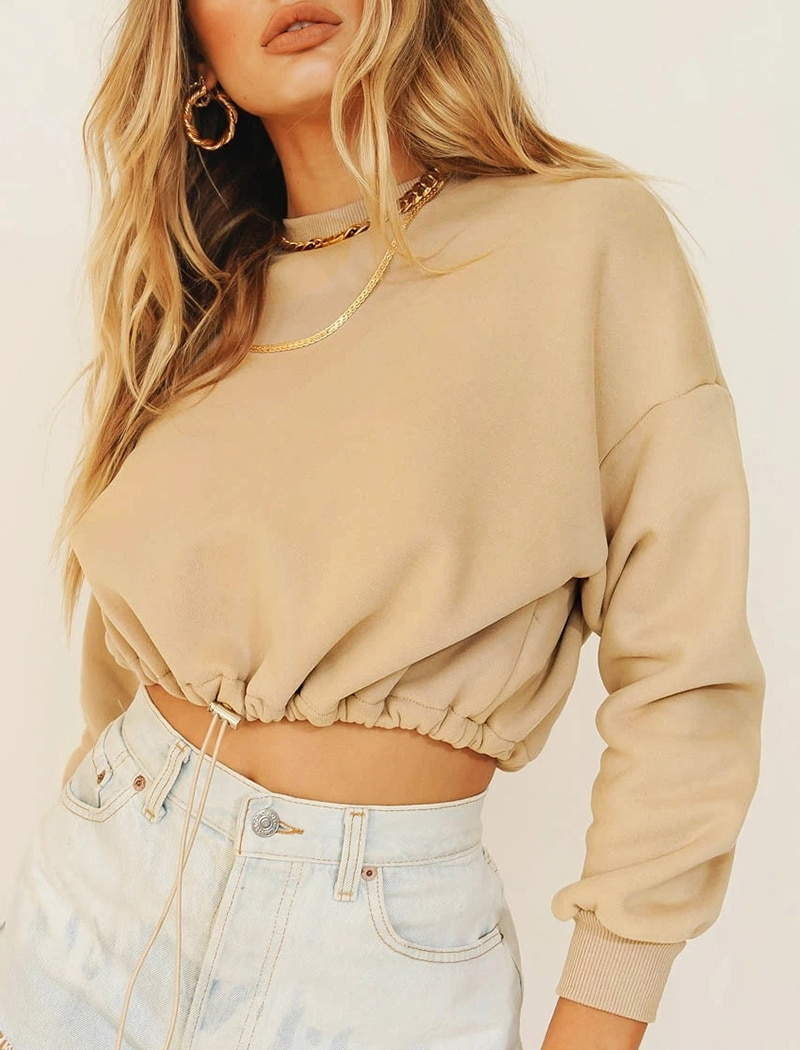 Aachoae Solid Casual Pullover Sweatshirt Women Batwing Long Sleeve Loose Sports Style Cropped Tops O Neck Tracksuit Hoodies Lady