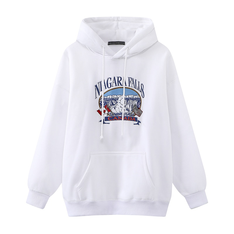 Oversize Girls Waterfall Embroidery Sweatshirts 2021 Spring-Autumn Fashion Ladies Soft Thick Pullovers Loose Women Chic Clothes