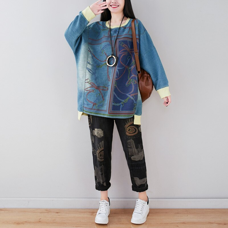 Johnature 2020 Spring New Fashion Floral Print O-neck Irregular Sweatshirt Loose Casual All-match Long Sleeve Women Pullover Top