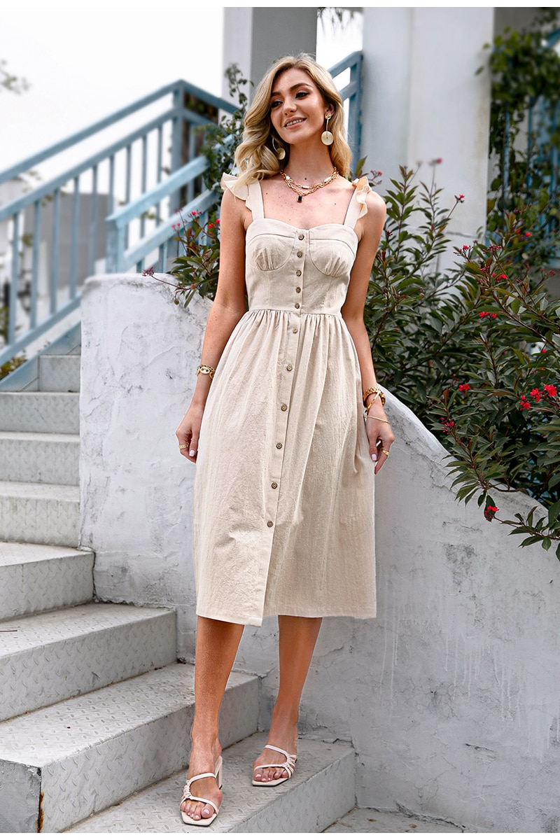 Simplee Cotton sleeveless square neck dress Solid Long Summer Suspender A-line Female Dress Casual Button Ruffle Women Dress New
