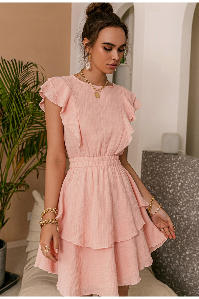 Simplee Light Pink Cotton Dress Fashionable Solid Color Ruffled Mid-length High-waisted Dress Sleeveless Summer Women Dress NEW