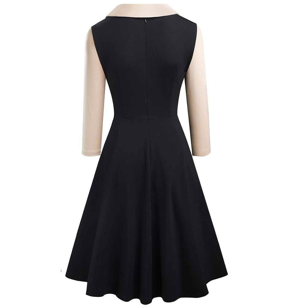 Nice-forever Women Vintage Turn-Down Collar Pinup Button vestidos A-Line Business Party Flare Swing Female Dress A136