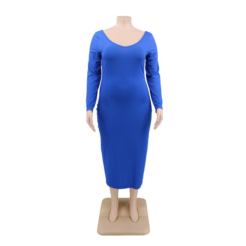 Winter Maxi Dresses for Women V Neck High Waist Long Sleeve Dress Sexy Ribbed Bodycon Dress Plus Size Wholesale Dropshipping