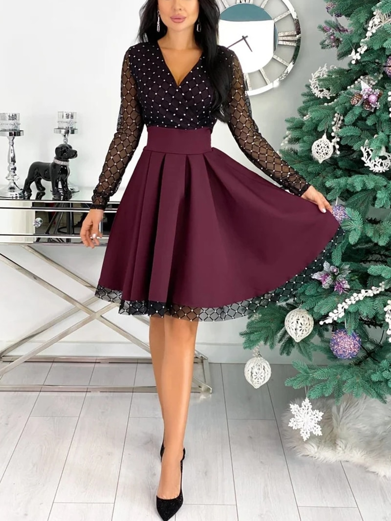 Capucines Fashion Shiny Sequin Diamond Mesh Stitching Dress Women Spring Autumn Sheer Long Sleeve Belted Slim A Line Dresses