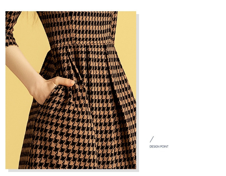 Only Plus O-Neck Houndstooth Print Bodycon Dress Women Spring Autumn Long Sleeve Elegant Pleat Fitted Dresses Vintage High Waist