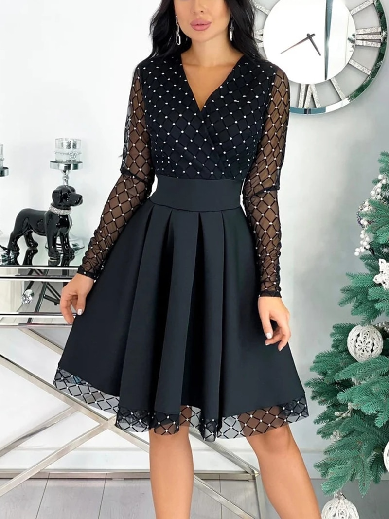 Capucines 2021 New Shiny Sequin Mesh Stitching Woman Dress Spring Autumn Long Sleeve A Line Belted Ladies Elegant Party Dresses