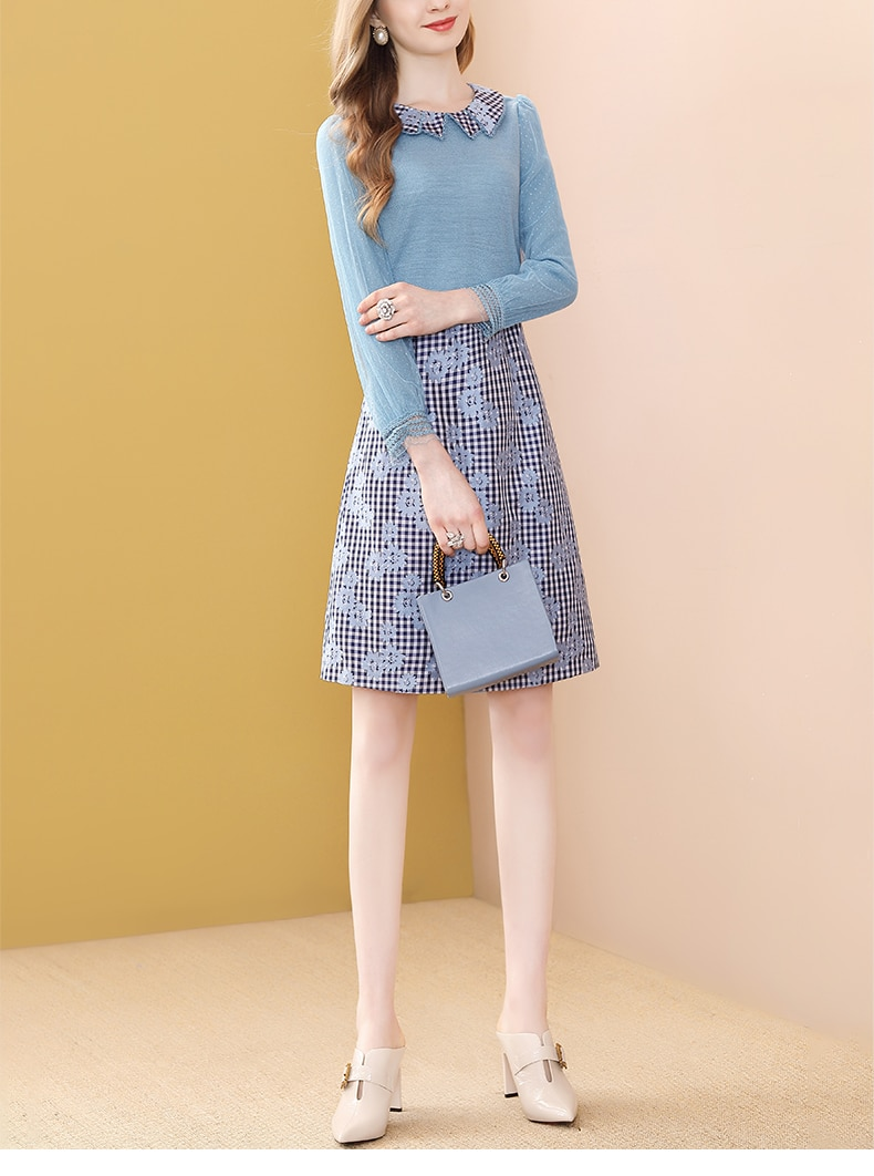 Only Plus Embroidery Patchwork A-Line Dresses Mesh Long Sleeve Peter Pan Collar Fashion French Design Elegant Slim Dresses