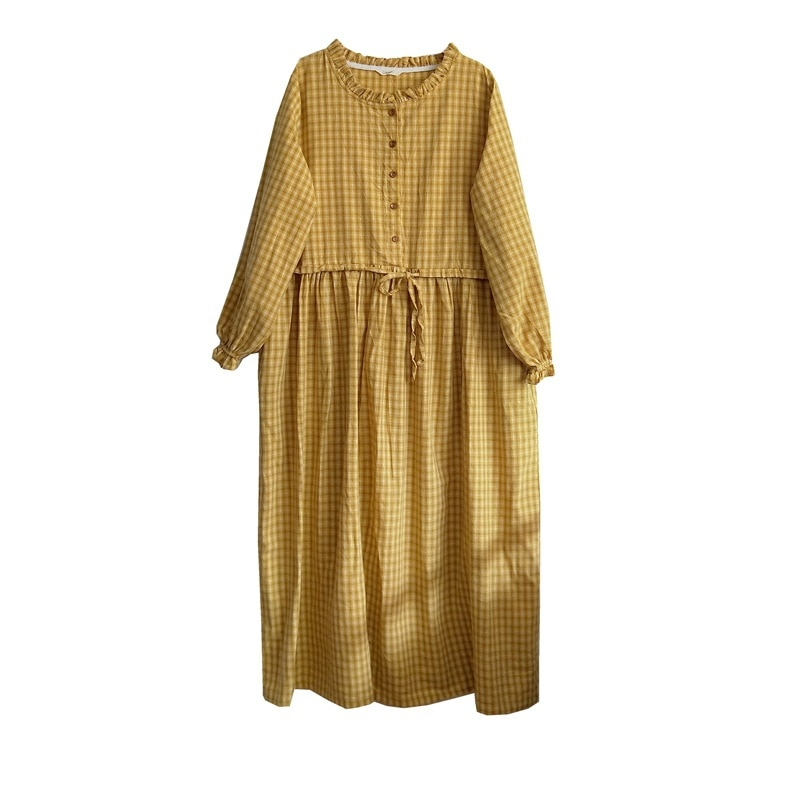 Johnature 2020 New Vintage Loose Plaid Dresses For Women Belt Button O-Neck Long Sleeve High Quality Women Casual Dresses
