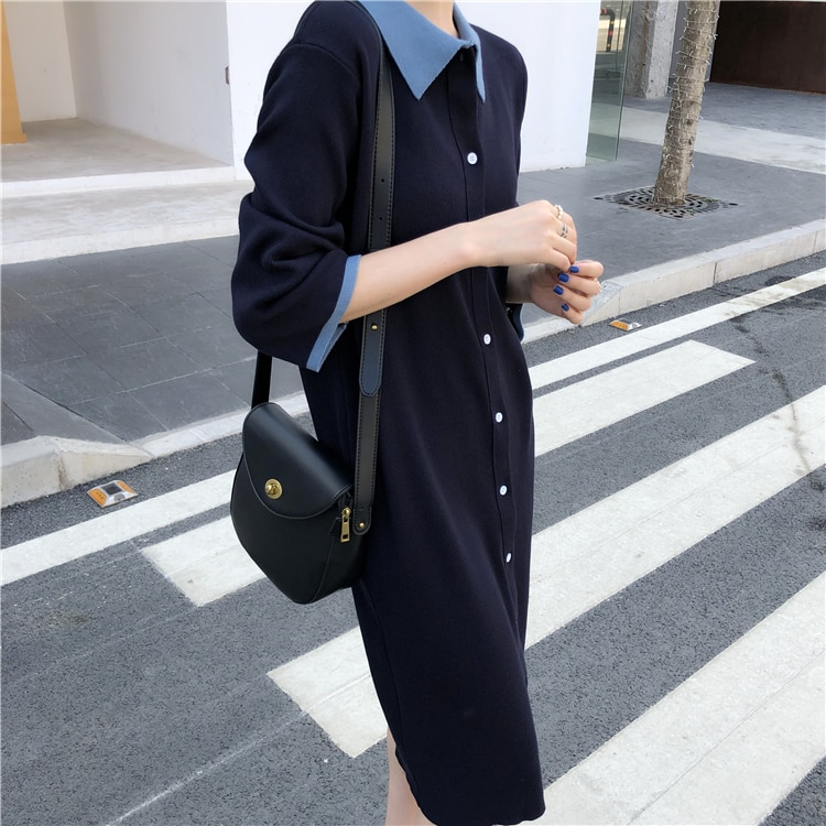 Colorfaith New 2020 Spring Autumn Women Dresses Loose Sweater Elegant Lapel Single-breasted Casual knitting Office Ladies DR6761