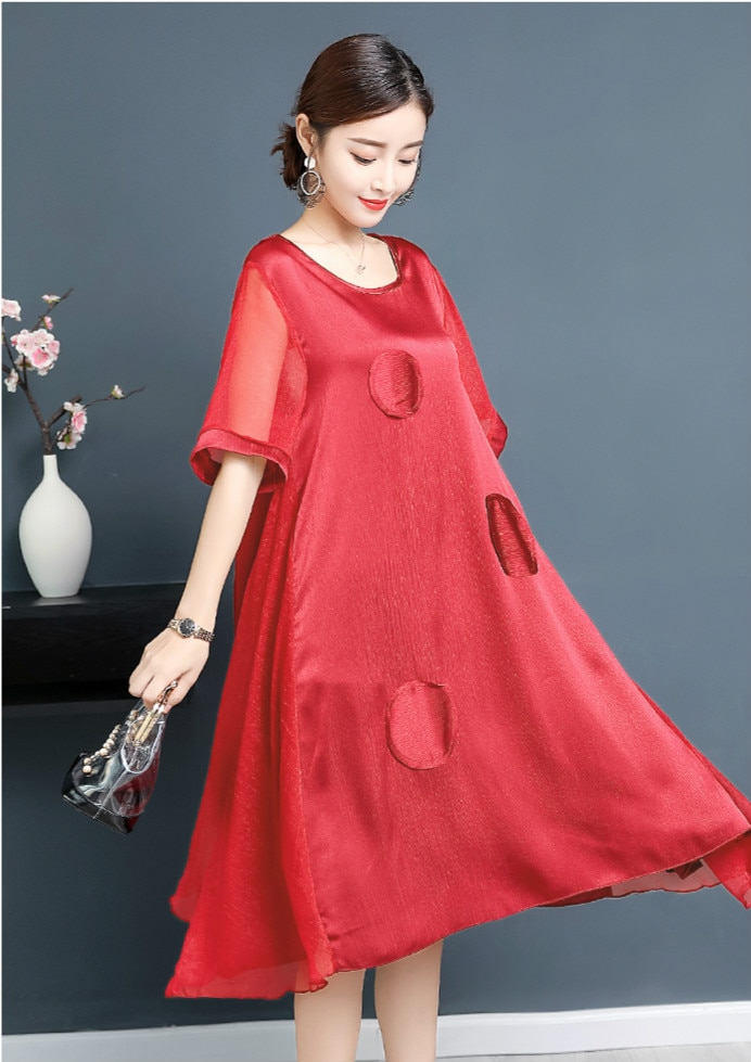 2020 New Summer Elegant Temperament Silk Middle Aged Mother Red Dress New Short Sleeve  Round Collar Designs Office Lady Dresses