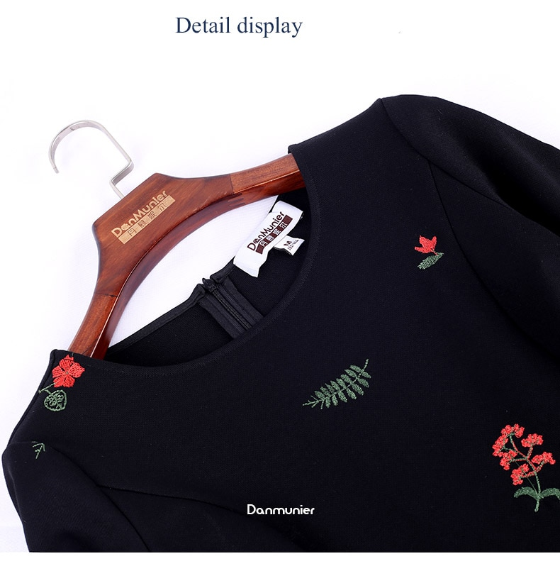Only Plus Black Embroidery Party Dress Slim Fashion O-Neck Spring French Elegant Women OL Dresses A-Line 2021 New Design