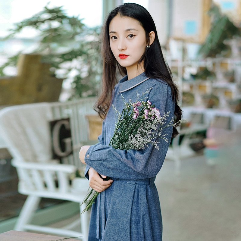 Johnature Women Bandage Autumn Dresses Solid Color High Waist Turn-down Collar 2020 Fall New Female Cotton A-Line Casual Dress