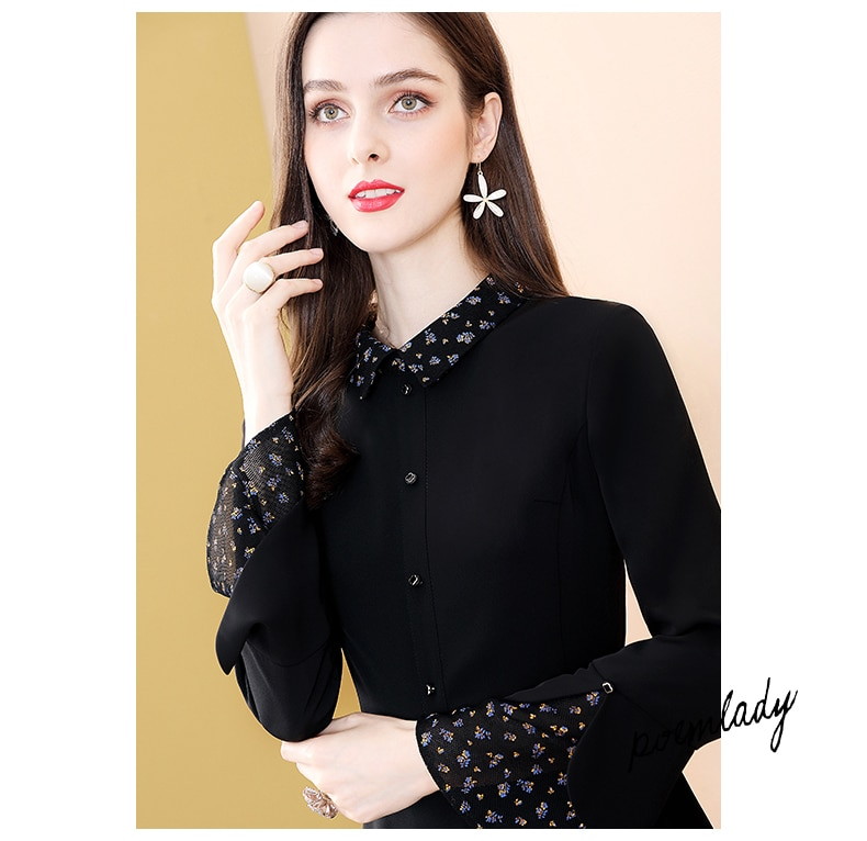 Only Plus Black Patchwork Flare Sleeve Printed A-Line Dress Office Lady Women Fashion Slim Spring Knee Dresses Turn Down Collar