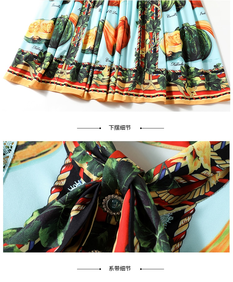 2020 Spring Autumn Runway Fruits Vegetables Pleated Dress Women Bow Neck Long Sleeve Lace Pearl Buttons Floral Print Long Dress