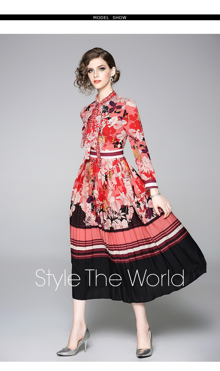 early spring print vintage dresses clothing for women long sleeve bow stand collar pleated large swing retro dress female 2020