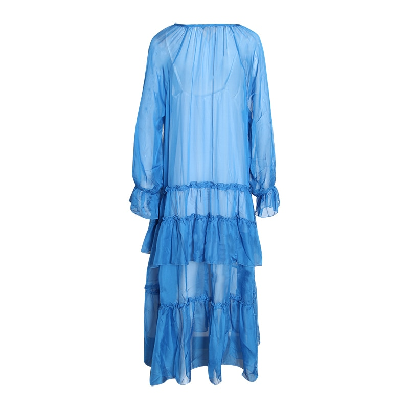 CHICEVER Spring Patchwork Ruffles Women's Dresses V Neck Petal Sleeve Loose Perspective Holiday Dress Fashion Clothes Tide