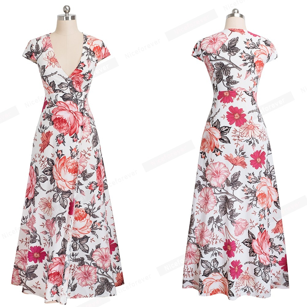 Nice-forever Summer Bohemian Floral Printed Sexy Side Split Dresses Beach Women Flare Maxi Dress A098