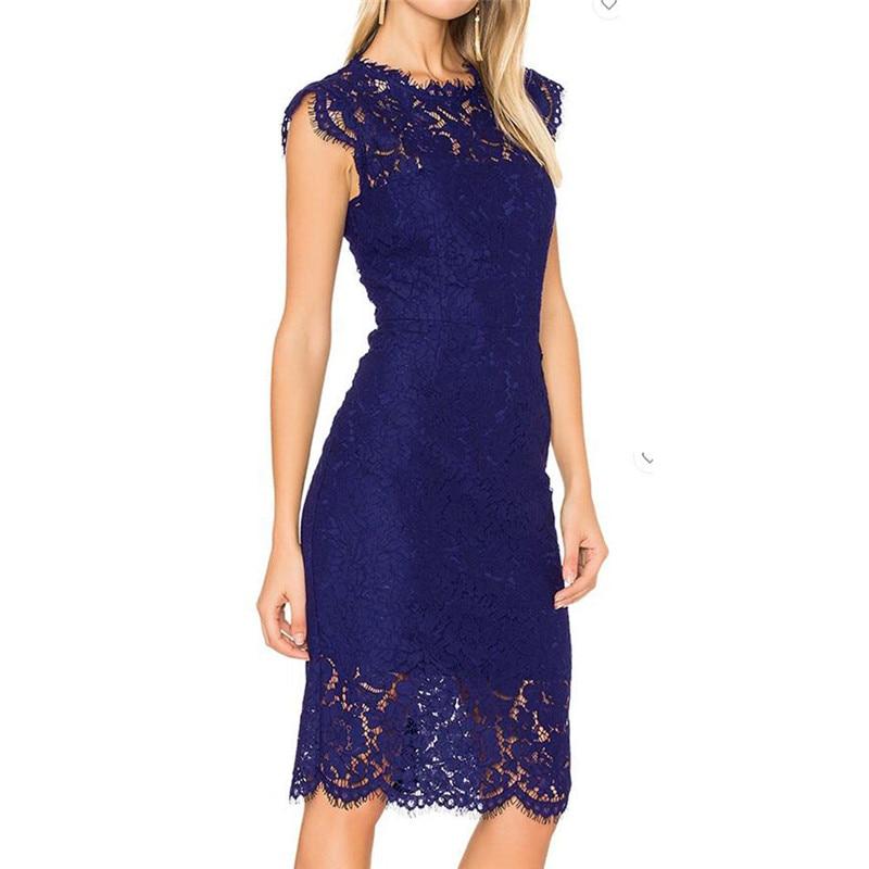 LSYCDS Robe Sexy Blue Dress Women Elegant Lace Black White Red Ladies Casual Dress Bodycon Summer Dresses Woman Party Night 2020