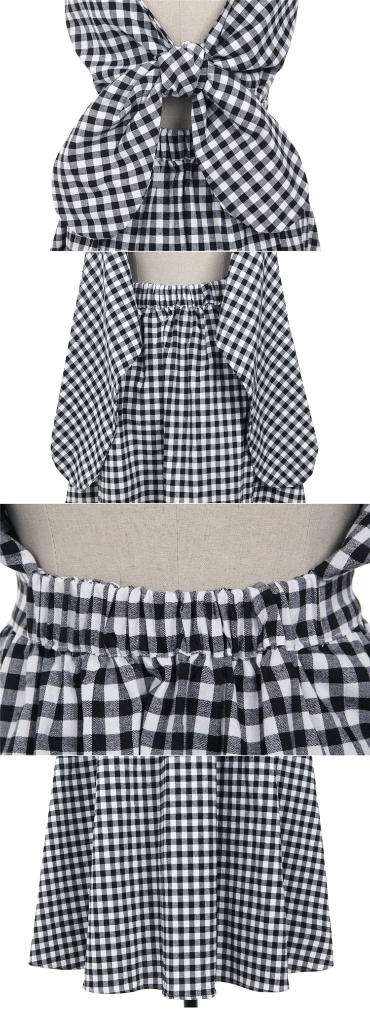 Colorfaith 2021 Women Summer Dresses Plaid Backless Sleeveless Pleated Checkered Lace Up Bow Cotton and Linen Long Dress DR2699