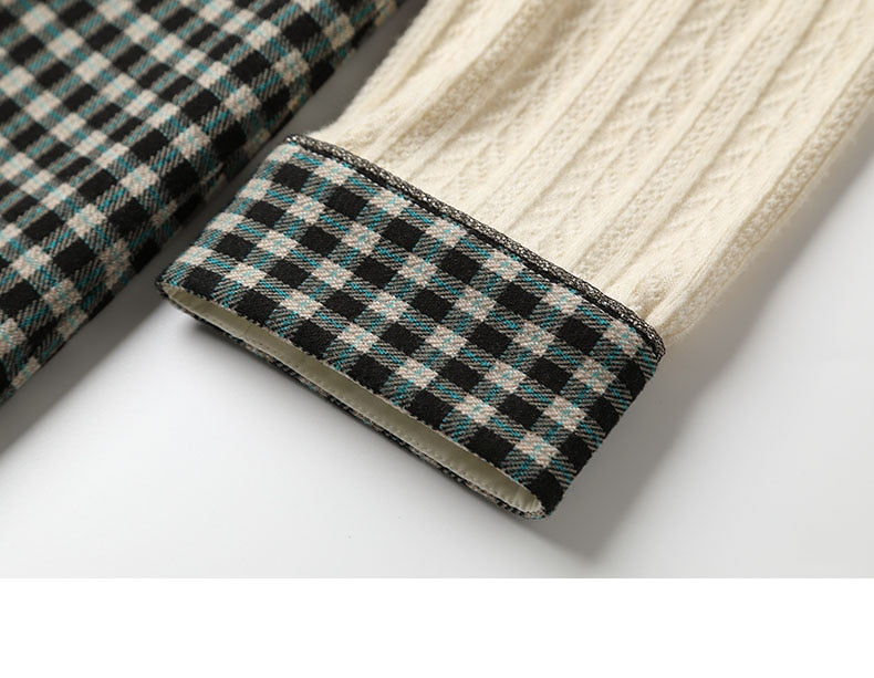 Only Plus Knitted Long Sleeve Dresses For Women Splicing Fake two pieces Plaid Plaid OL Elegant TemperamentSlim Dress Bow Casual
